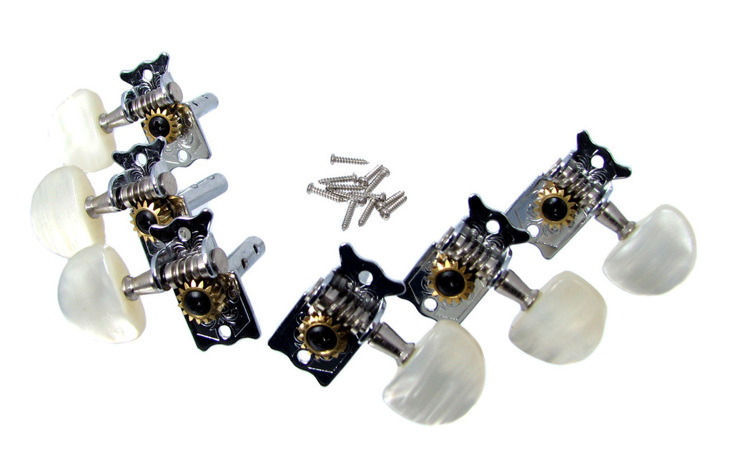Parlor-style Chrome Open-gear Tuners - Dual-hole Shafts - 6pc. 3L/3R