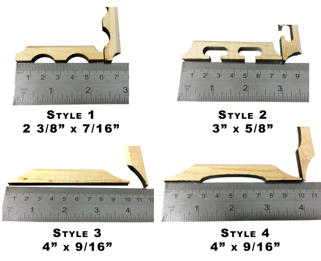 Laser-Cut Hardwood Bridge Blanks for Cigar Box Guitars - Choose Style, Wood and Quantity