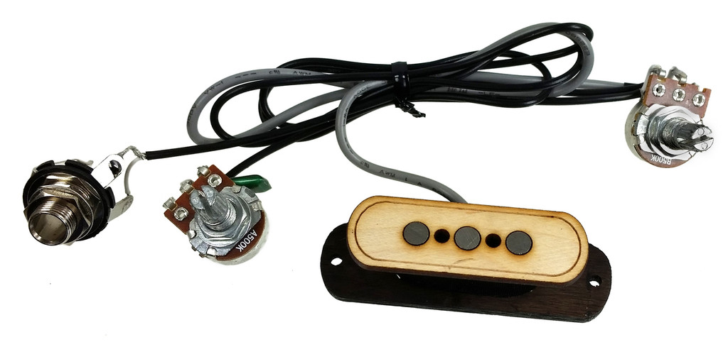 electric delta 3 pole cigar box guitar pickup with volume tone no soldering c b gitty. Black Bedroom Furniture Sets. Home Design Ideas