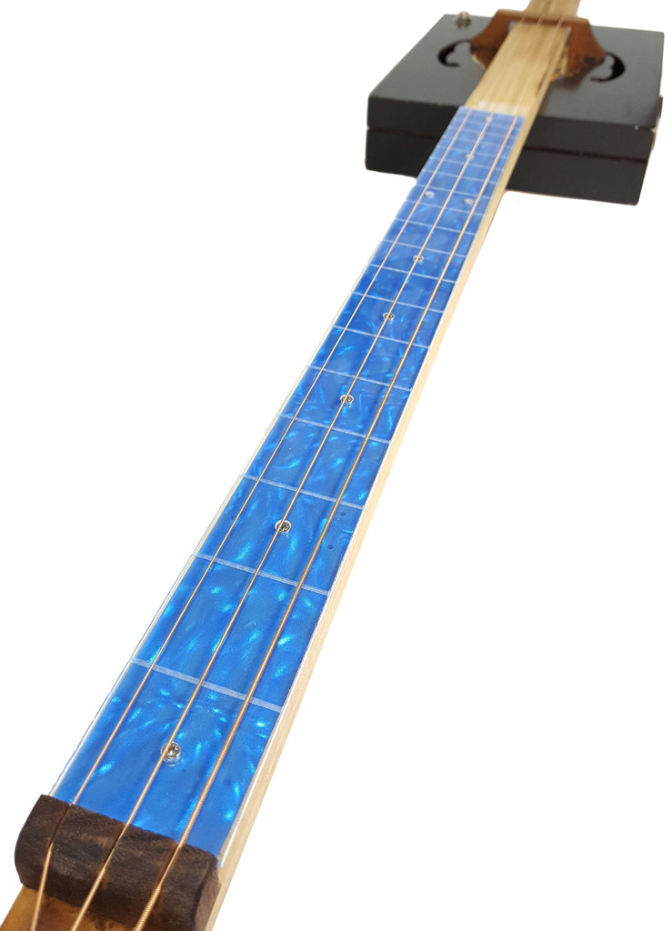 """Blue Moire Cigar Box Guitar (1.5"""") Acrylic Fretboard Underlay"""