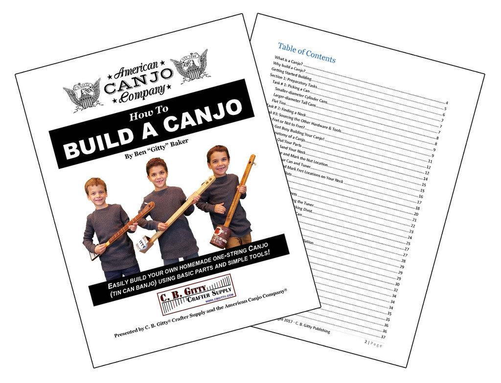 """How to Build a Canjo - 60-page Book by Ben """"Gitty"""" Baker (e-Book Download Version)"""