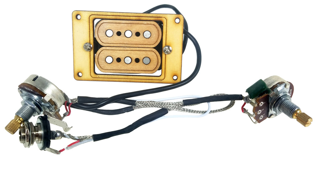 """""""DeltaBucker Deluxe"""" 3-string Maple Cigar Box Guitar Humbucker Pickup pre-wired with Volume & Tone - No Soldering"""