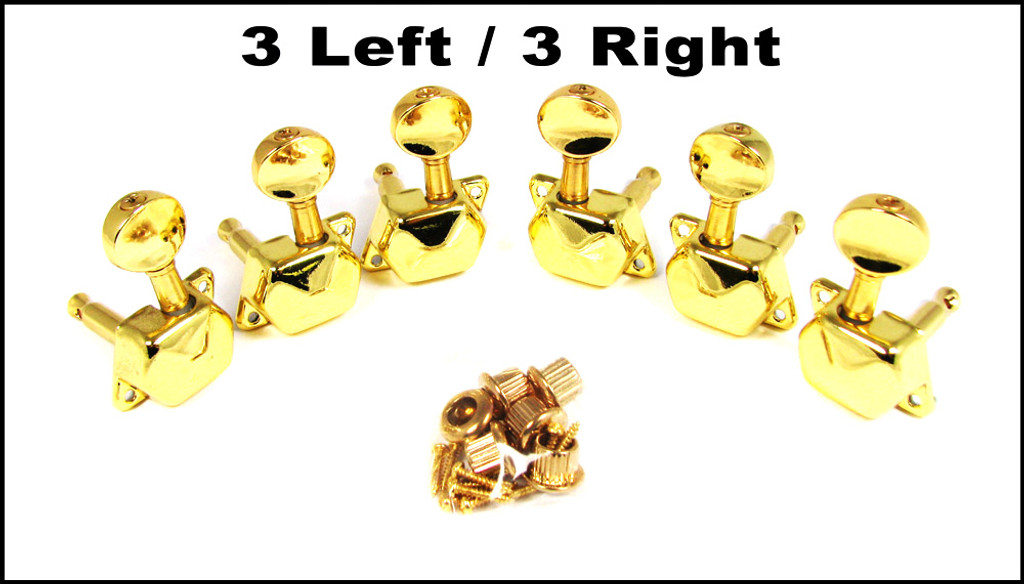 Gold Enclosed-Gear Guitar Tuners/Machine Heads - 6pc. 3 left/3 right