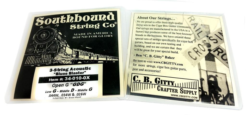 "Acoustic Medium ""Blues Blaster"" 3-String Cigar Box Guitar Strings - Low Open G - GDG"