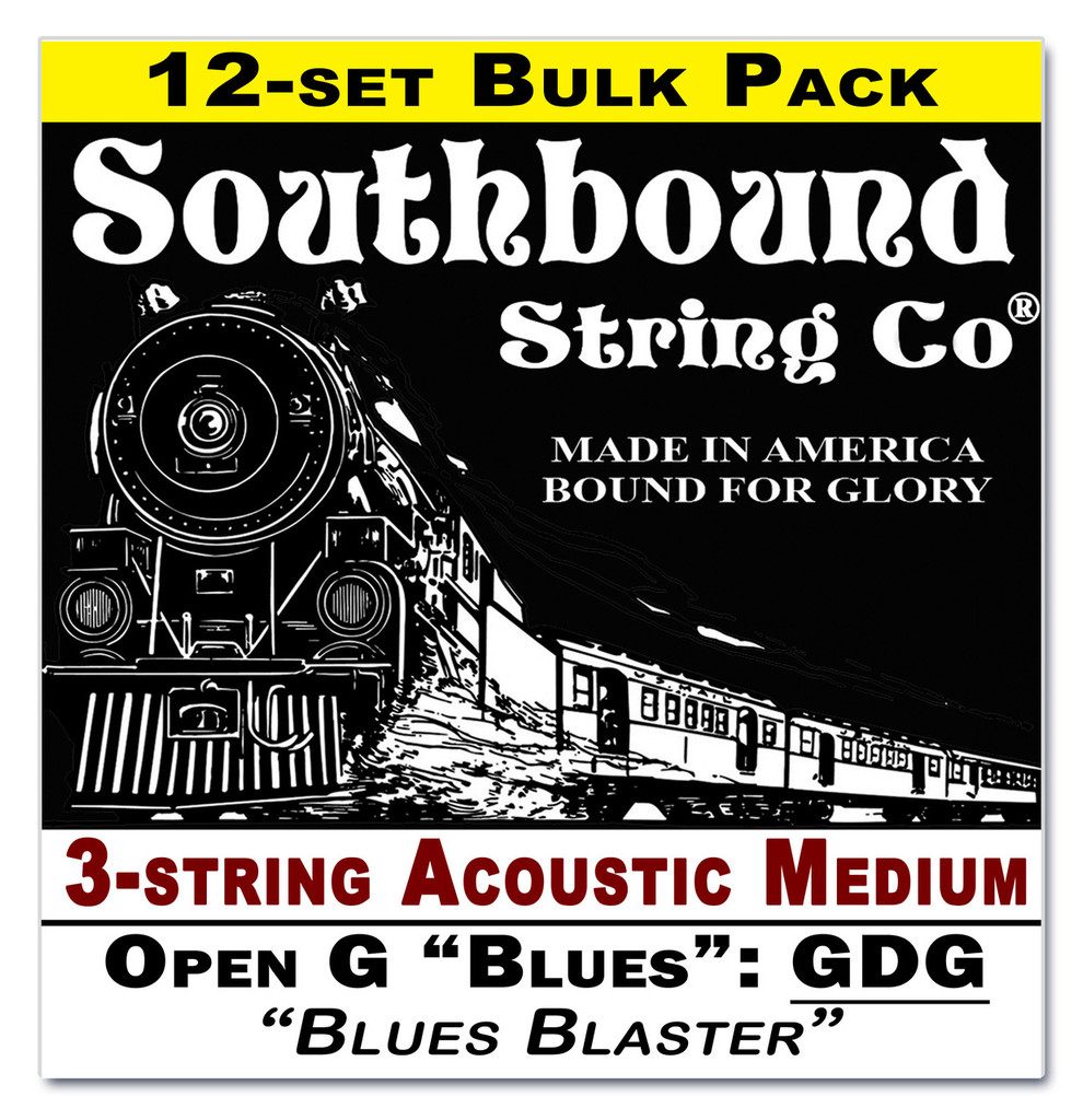 "12-pack 3-string CBG Strings - Low Open G ""Blues"" GDG Tuning - Acoustic Medium"