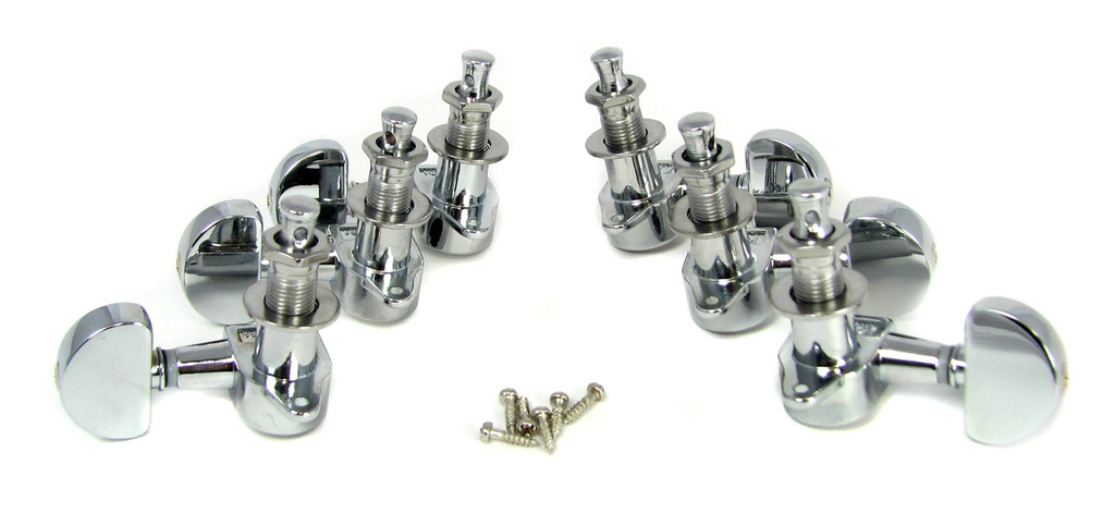 "Chrome ""Half Moon""-style Sealed-Gear Guitar Tuners/Machine Heads - 6pc. 3L/3R"
