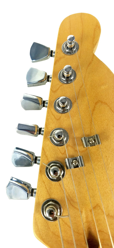 Chrome Tombstone-style Sealed-Gear Guitar Tuners/Machine Heads - 6pc. Inline Right-aligned