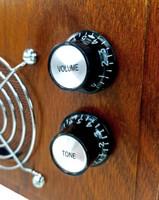 2pc. Black Top-hat Style Acrylic Knobs - Volume & Tone