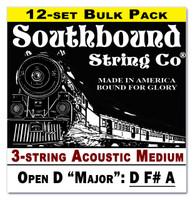 12-pack 3-string Cigar Box Guitar Strings - Open D Major Tuning - Acoustic Medium