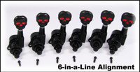 Black Skull Sealed-Gear Guitar Tuners/Machine Heads - 6pc. Inline Right-aligned