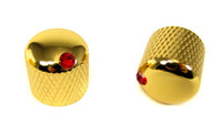 2-pack Gold Dome Knobs with Ruby Indicators