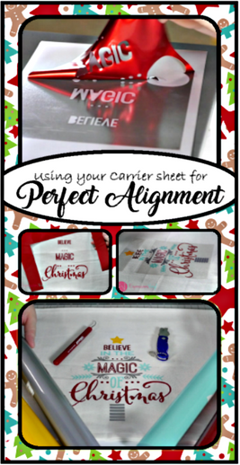 Use scraps of your HTV's carrier sheet to align images