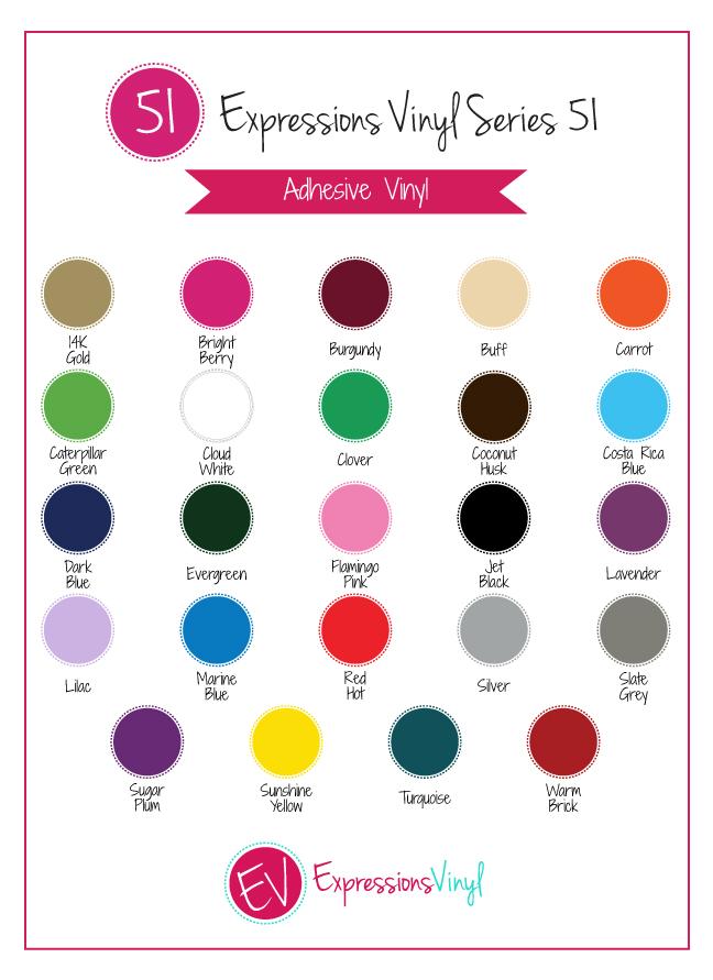 Series 51 Vinyl Color Chart