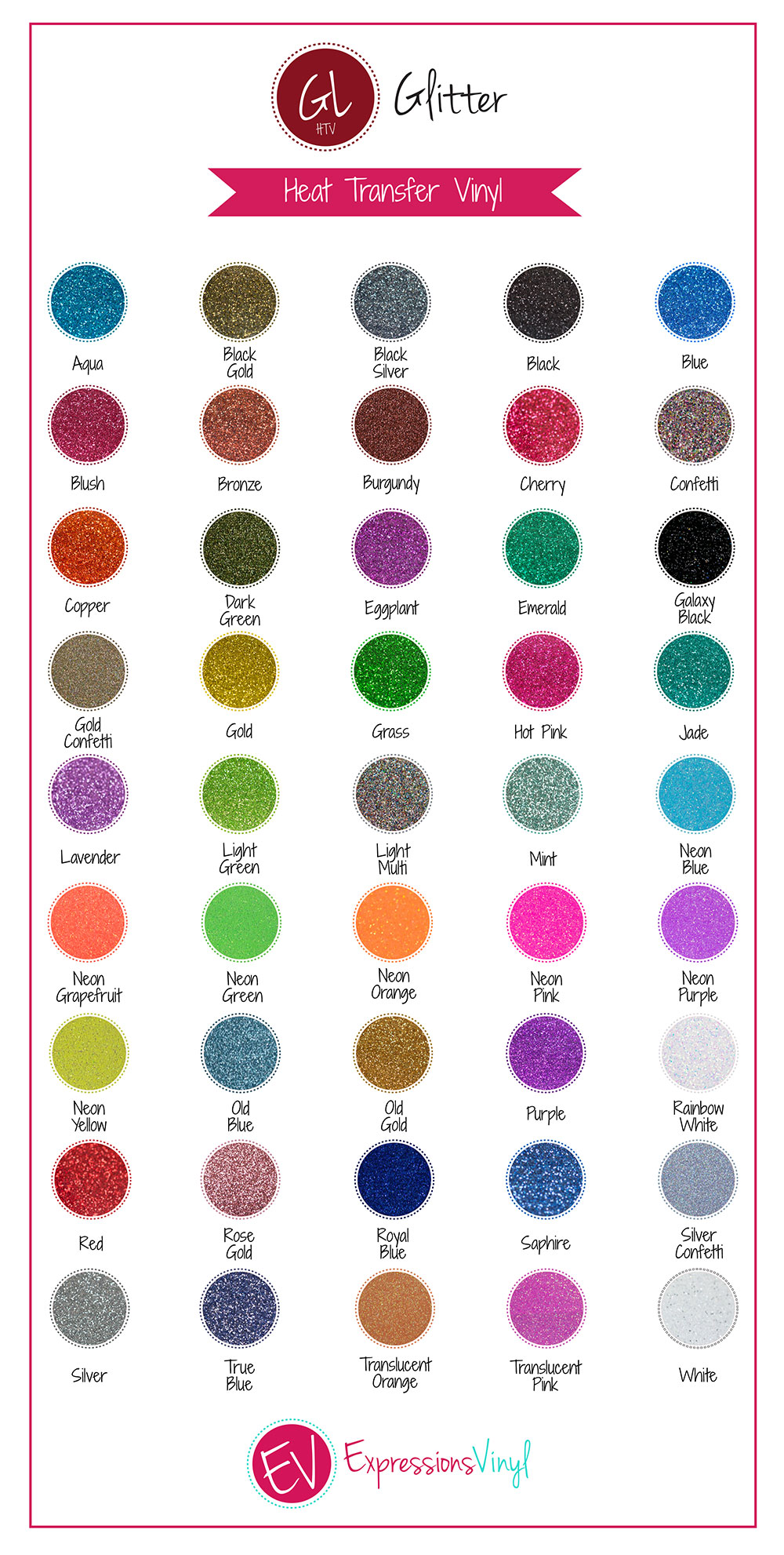 Glitter Heat Transfer Vinyl Color Chart