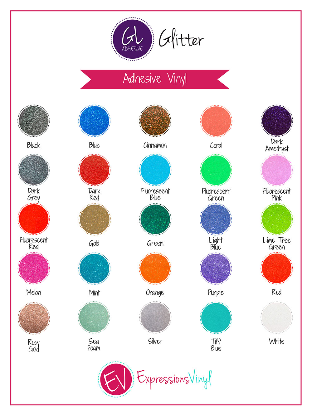 Glitter Adhesive Vinyl Color Chart