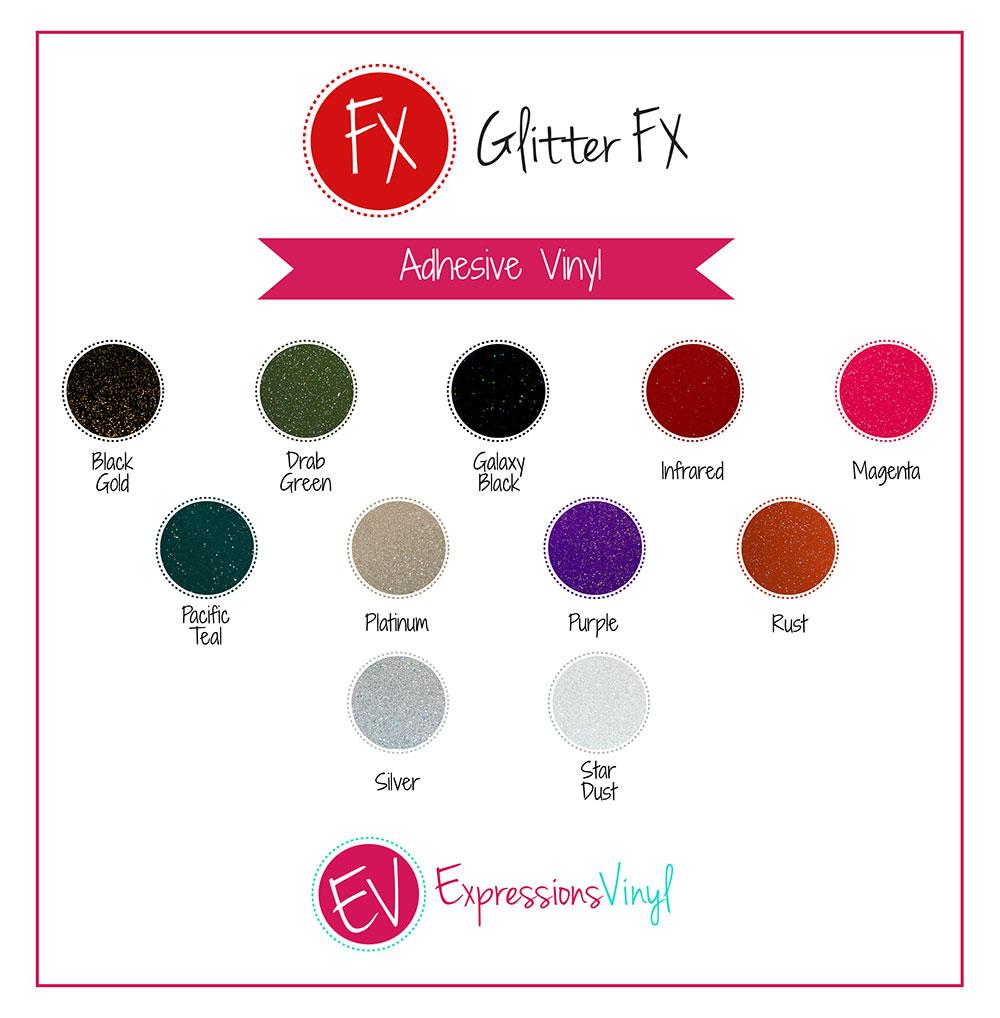 Glitter FX Vinyl Color Chart