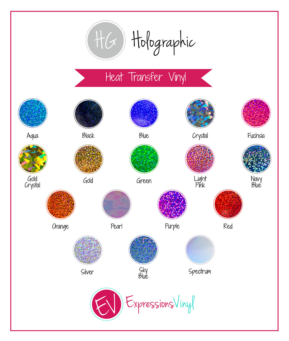Holographic Heat Transfer Vinyl Color Chart