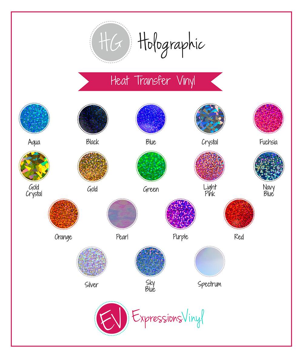 Holographic Heat Transfer Vinyl Color Chart