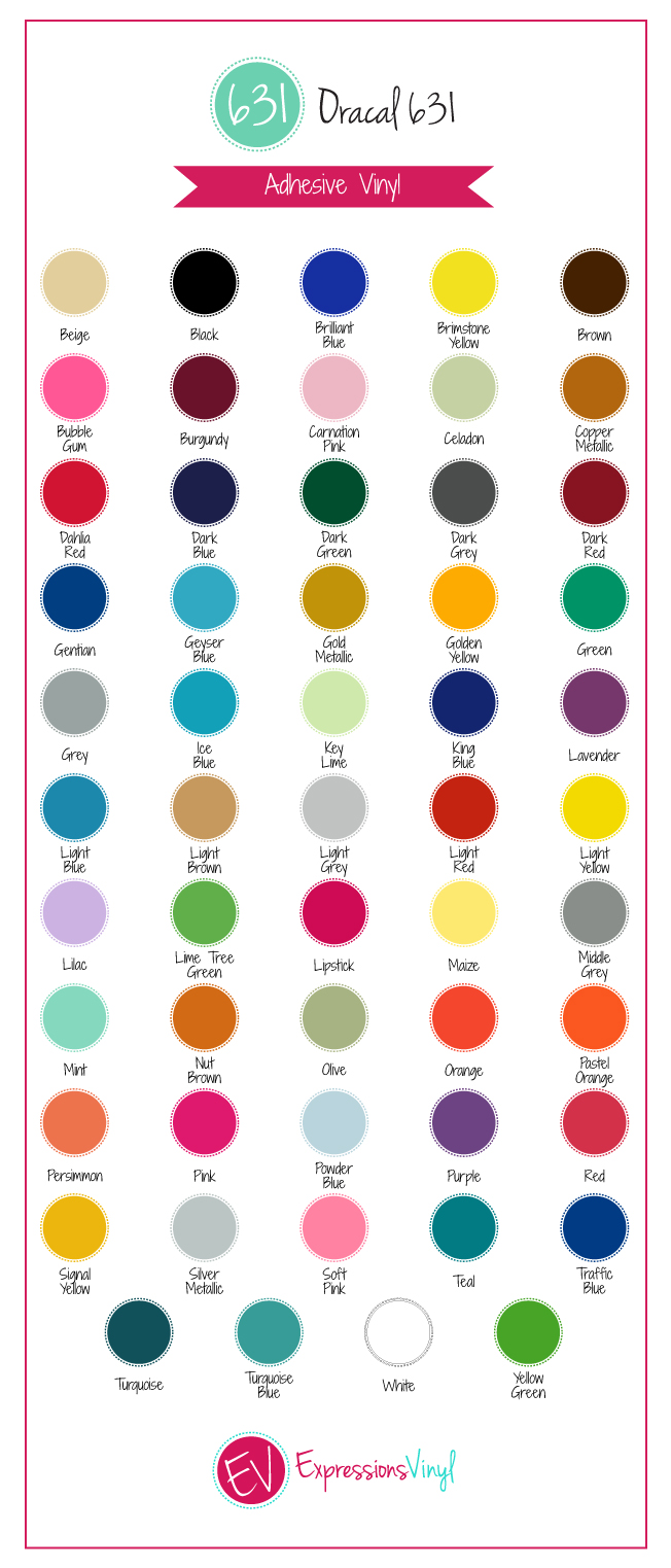 picture relating to Oracal Printable Vinyl named Colour Charts