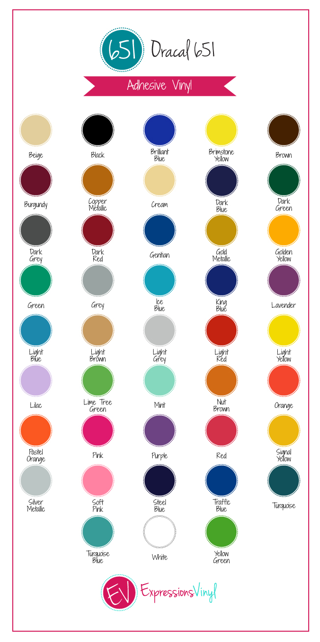 Oracal 651 Vinyl Color Chart