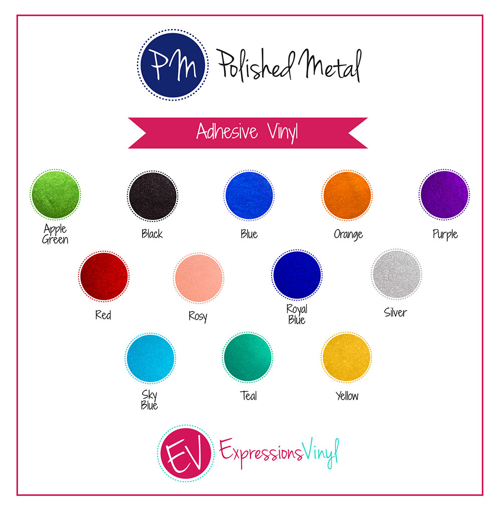 Polished Metal Adhesive Vinyl Color Chart