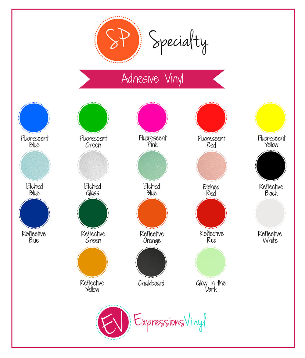 Specialty Adhesive Vinyl Color Chart