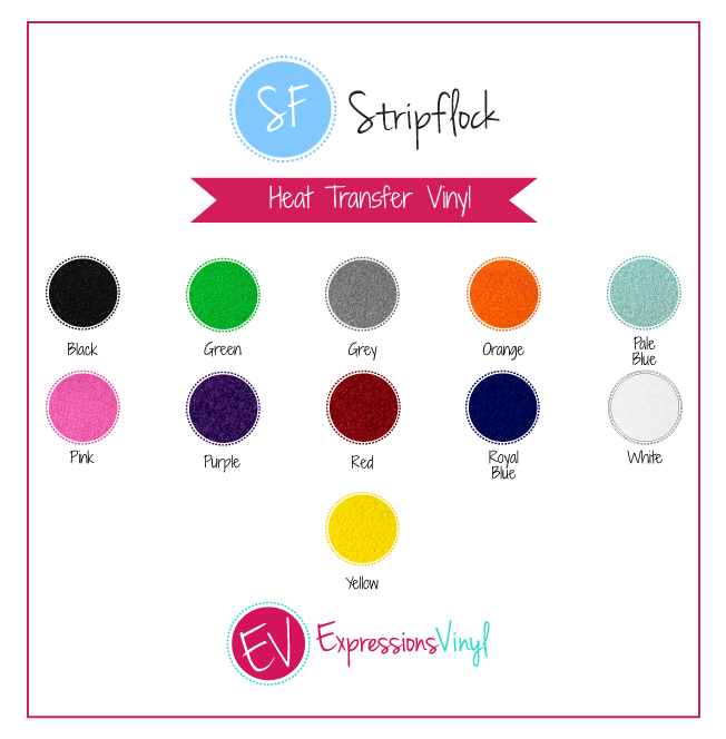 Stripflock Heat Transfer Vinyl Color Chart