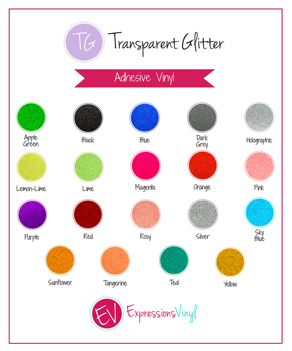 Transparent Glitter Vinyl Color Chart