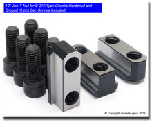 """10"""" Jaw T-Nut for B-210 Chucks Hardened and Ground (3 Piece Set Screws Included)"""