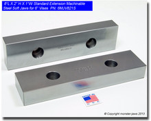 "8 x 2 x 1"" Oversized (Extension) Steel Machinable Jaws for 6"" Vises"