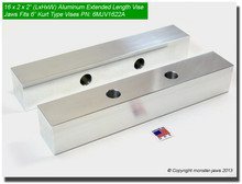 "16 x 2 x 2"" Oversized (Extension) Aluminum Soft Jaws for 6"" Vises"