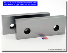 """8 x 3 x 1"""" Steel Standard Machinable Jaws for 8"""" Vises"""