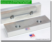 "8 x 2.5 x 1"" Oversized (Extension) Aluminum Soft Jaws for 6"" Vises"