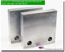 "6 x 6 x 1.25"" Aluminum Standard Soft Jaws for 6"" Vises"