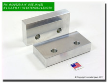 "5 x 2.5 x 1"" Oversized (Extension) Aluminum Soft Jaws for 4"" Vises"