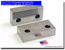 "4 x 2 x 1"" Steel Standard Machinable Jaws for 4"" Vises"
