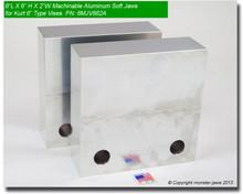 "6 x 6 x 2"" Aluminum Standard Soft Jaws for 6"" Vises"