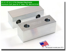 "4 x 1.5 x 1.5"" Aluminum Standard Soft Jaws for 4"" Vises"
