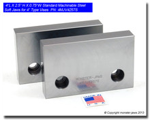"4 x 2.5 x 0.75"" Steel Standard Machinable Jaws for 4"" Vises"