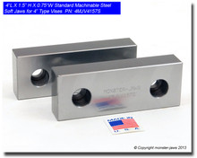 """4 x 1.5 x 0.75"""" Steel Standard Machinable Jaws for 4"""" Vises"""