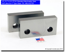 """4 x 2 x 0.75"""" Standard Steel Machinable Jaws for 4"""" Vises"""