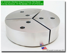 "10"" Aluminum American Standard Tongue & Groove Full Grip Round Jaws (3.0"" HT, 10"" Pie Diameter)"