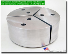 "10"" Aluminum American Standard Tongue & Groove Full Grip Round Jaws (4.0"" HT, 10"" Pie Diameter)"