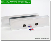"""8 x 2 x 1"""" Oversized (Extension) Aluminum Jaws for 4"""" Vises"""