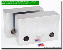 """6 x 4 x 2"""" Standard Aluminum Machinable Soft Jaws for 6"""" Vises"""