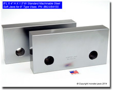 """8 x 4 x 1.5"""" Standard Steel Machinable Soft Jaws for 8"""" Vises"""