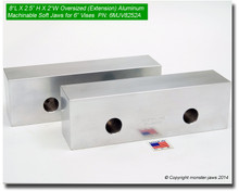 "8 x 2.5 x 2"" Oversized (Extension) Aluminum Jaws for 6"" Vises"