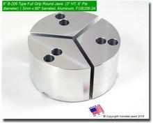 "6"" Aluminum Full Grip Round Jaws for B-206 Chucks (3"" HT, 6"" Pie diameter)"