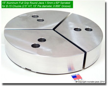 "15"" Aluminum Full Grip Round Jaws for B-15 Chucks (2.5"" HT, 15"" Pie diameter)"