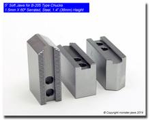 """5"""" Steel Jaws 1.5mm x 60° Serrated for B-205 Chucks (1.4"""" HT)"""